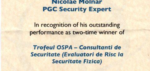 Trofeul OSPA – Consultanti de Securitate (Evaluatori de Risc la Securitate Fizica)