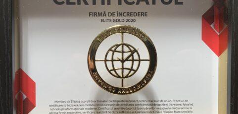 Certificatul Firmă de Încredere – Elide Gold 2020